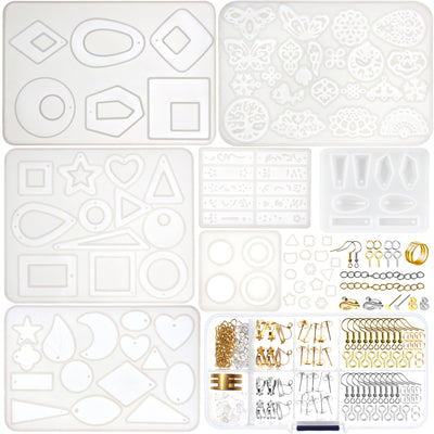 Geometric Hoop Earrings Silicone Resin Molds Set and Jewelry Making Supplies 139-kit