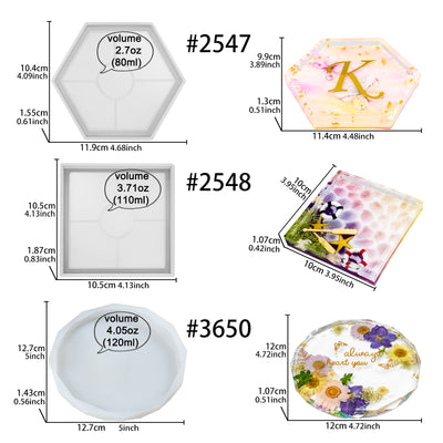 Coaster Epoxy Resin Silicone Molds Hexagon Square Round 3-Bundle with Tutorial Set
