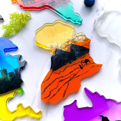 Africa Continent Coaster Epoxy Resin Silicone Mold