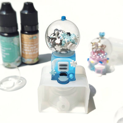 3D Gumball Machine Resin Shaker Molds Set 4 Tays with 5 Glass Bubbles