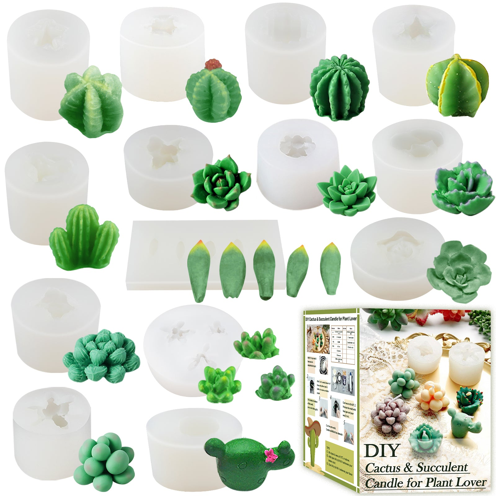 Cactus & Succulent Plant Silicone Molds 14-Count Smaller