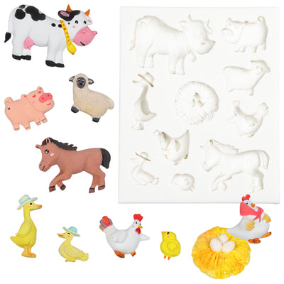 Barn Animals Fondant Silicone Mold Chicken|Duck|Sheep|Cow|Pig|Horse