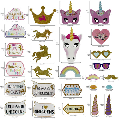 Find Your Rainbow Unicorn Photo Booth Props 30 Count