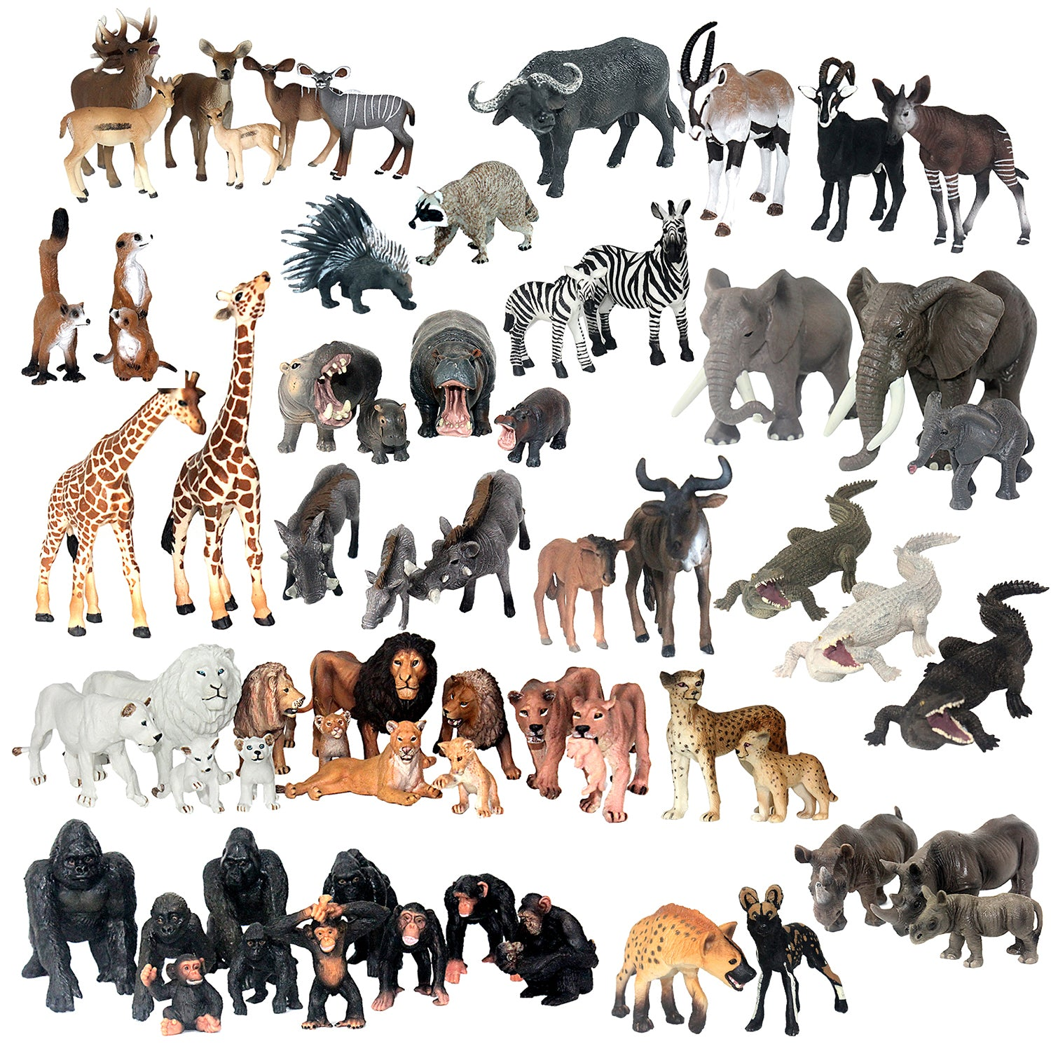 African Jungle Animals Figure Set of 63-count