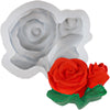 2 Rose with Leaves Silicone Mold