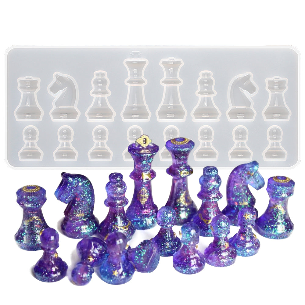 Chess Silicone Resin Mold 16-cavity Height 1.1-3.4inch