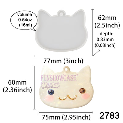 Cat Head Tag Silicone Resin Mold