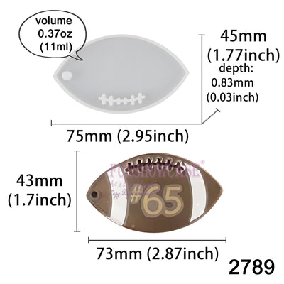 American Football Tag Silicone Resin Mold