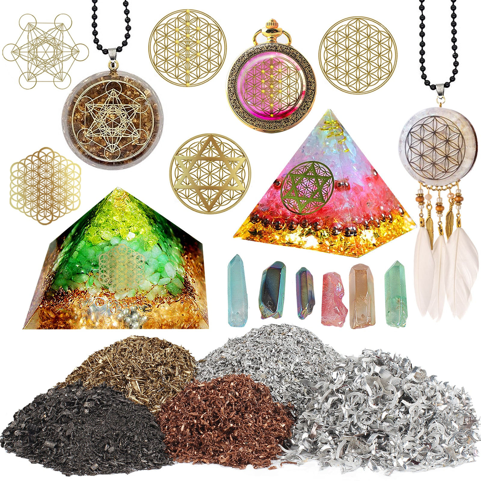 Orgone Resin Fillers-5 Metal Shavings|5 Symbol Stickers|6 Colored Crystals