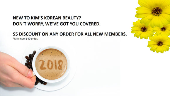 Kim's Korean Beauty - $5 dollar discount for new members on orders over $40.