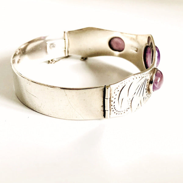 Vintage Sterling Silver & Amethyst Bangle