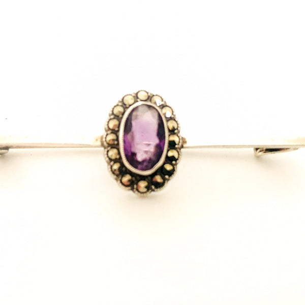 Antique  Silver & Amethyst Brooch