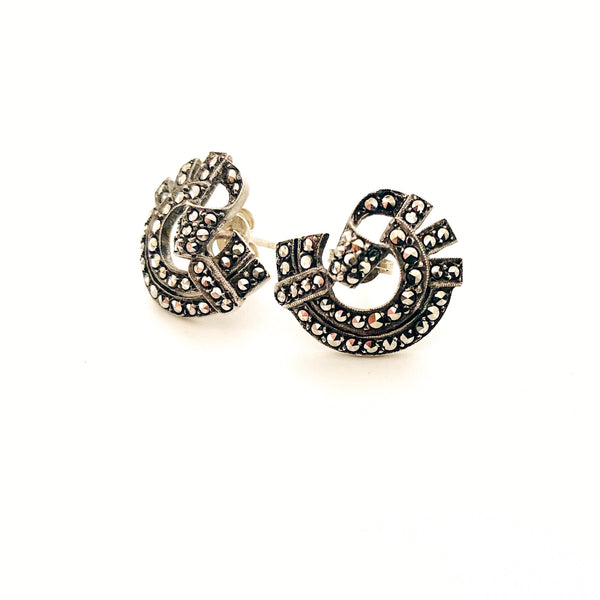 Vintage Sterling Silver & Marcasite Earrings