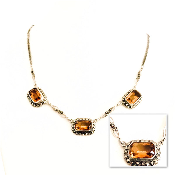 Art Deco Silver, Marcasite and Citrine Necklace