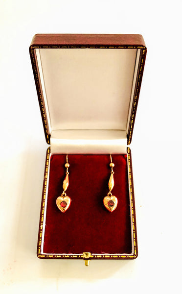 Victorian 9ct Rose Gold and Garnet Earrings