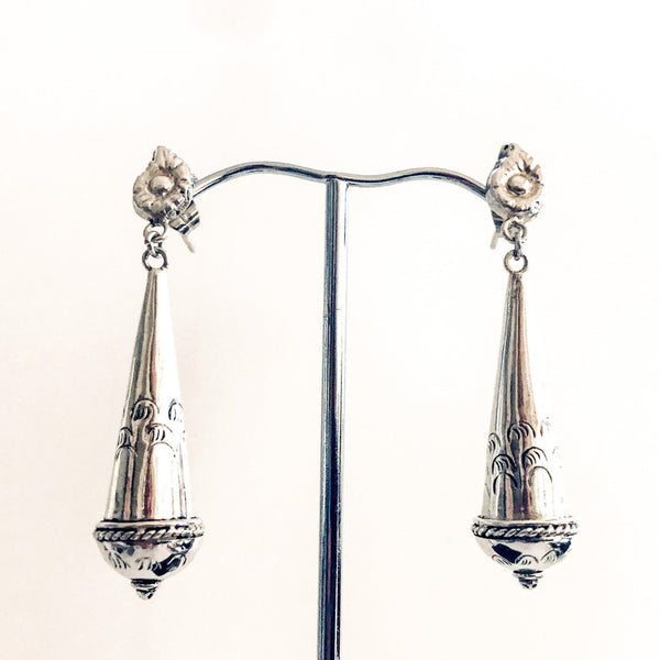 Antique Silver Torpedo Drop Earrings