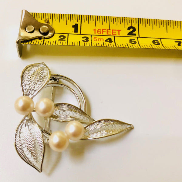 Silver and Pearl Brooch