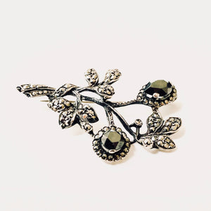 Sterling Silver Floral Spray Brooch