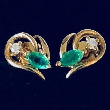 9ct Gold, Emerald & Diamond Earrings