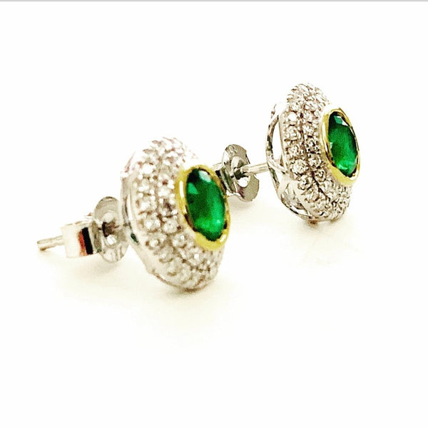 18ct Gold, Emerald & Diamond Earrings