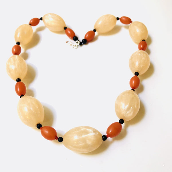 Contemporary Resin, Onyx and Coral Necklace