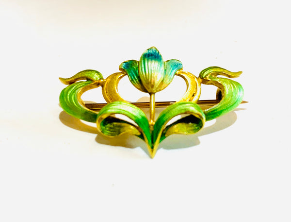 Art Nouveau 18ct Gold & Enamel Brooch