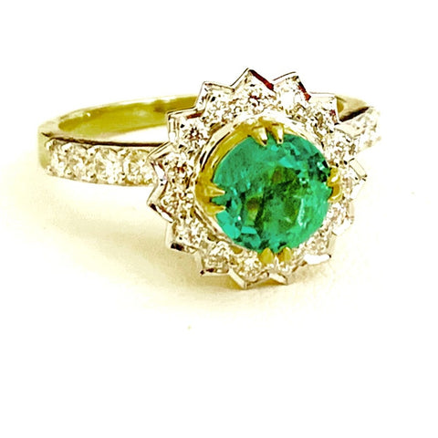 18ct Gold, Emerald & Diamond Ring