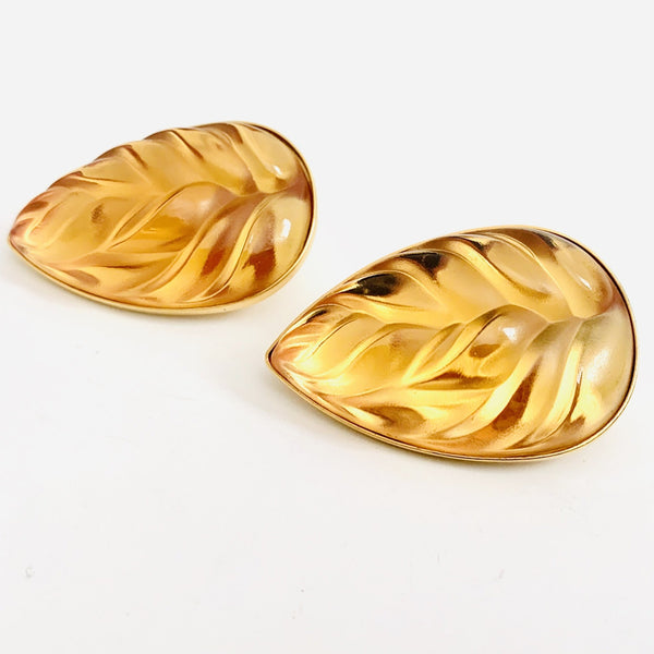 Lalique Crystal Leaf Clip-on Earrings