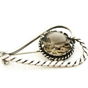 Silver & Smokey Quartz Heart Brooch