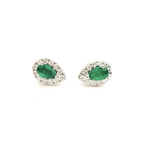 18ct White Gold, Emerald & Diamond Earrings
