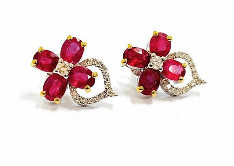 18ct Gold, Ruby & Diamond Earrings