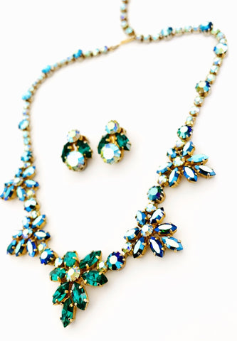 Vintage Rhinestone Necklace & Earring Set