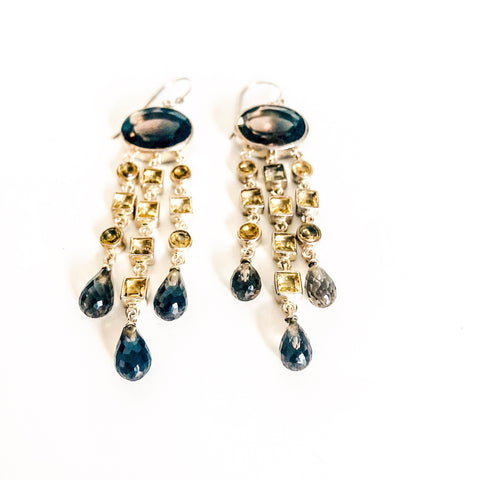 Sterling Silver, Smokey Quartz & Citrine Earrings