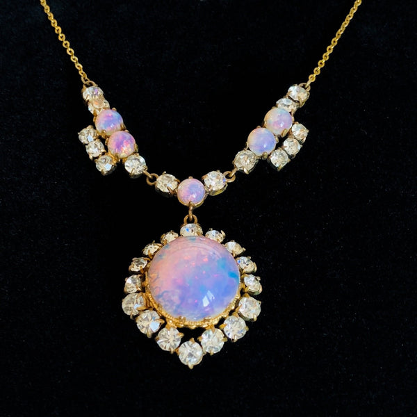 Vintage Opaline Glass Necklace and Brooch Set