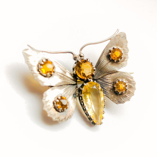 Victorian Silver & Citrine Butterfly Brooch