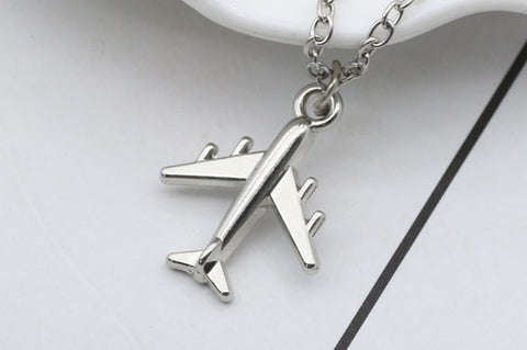 Elegant Silver Airplane Necklace