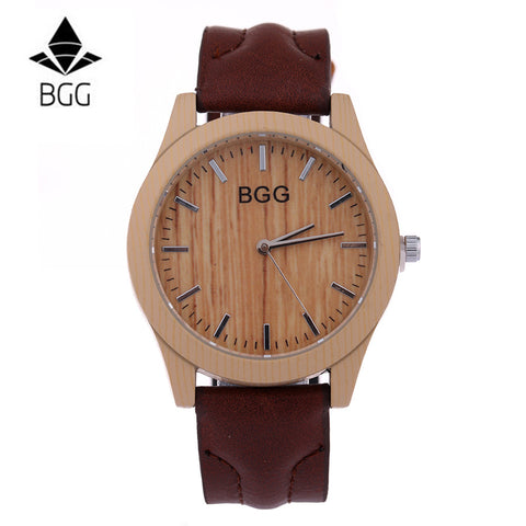 BGG Silver Line Wood Watch