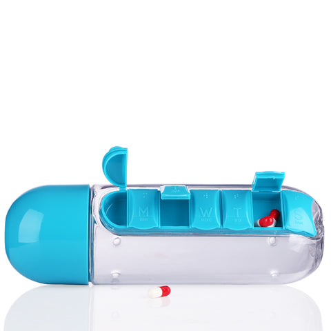 Water Bottle with Detachable Pill Organizer