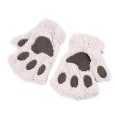 Furry Cat Paw / Bear Paw Gloves (half-finger)