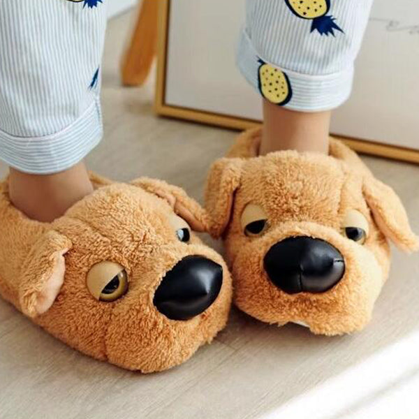Aeruiy Cozy Dog Womens Mens Plush Home Indoor Floor Slippers