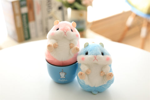 Aeruiy Plush Hamster Keychain Toy Stuffed Animal