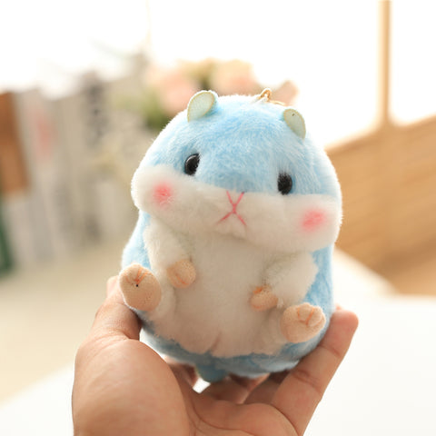 Aeruiy Plush Blue Hamster Keychain Toy Stuffed Animal