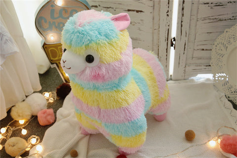Aeruiy Cute Rainbow Alpaca Doll Soft Baby Stuffed Animal Toy gifts