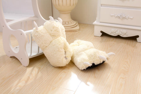 Aeruiy Bear Stuffed Animal Claw Slippers Furry Fun Costume Play Wear