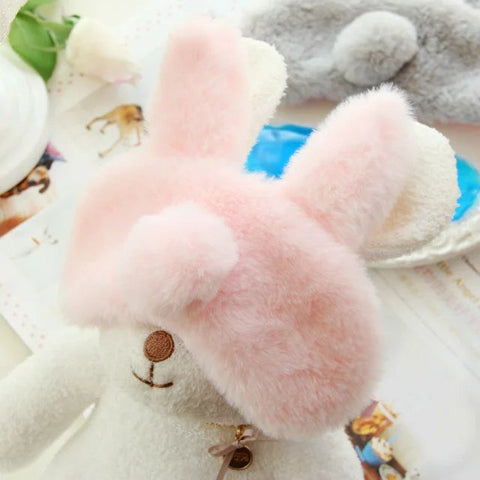Aeruiy Multicolor Cozy Plush Bunny Eye Sleep Mask