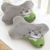 Aeruiy Gray Totoro Head Neck Rest Pillow (2pcs)