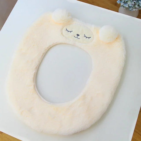 Aeruiy Bathroom Warm Cartoon Lamb/BunnyPattern Toilet Seat Cover Pads
