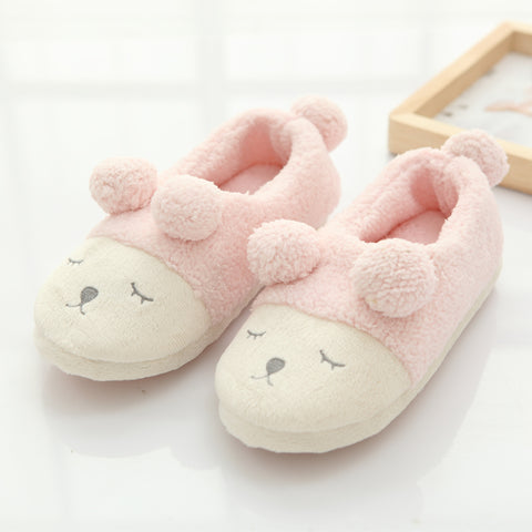 Aeruiy Cozy Sheep Women Men Home Indoor Mute Slippers (With Heel)