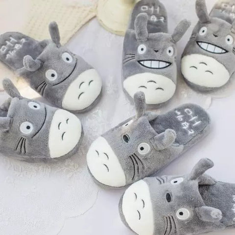 Aeruiy Totoro Women Men Soft Plush Home Indoor Slippers