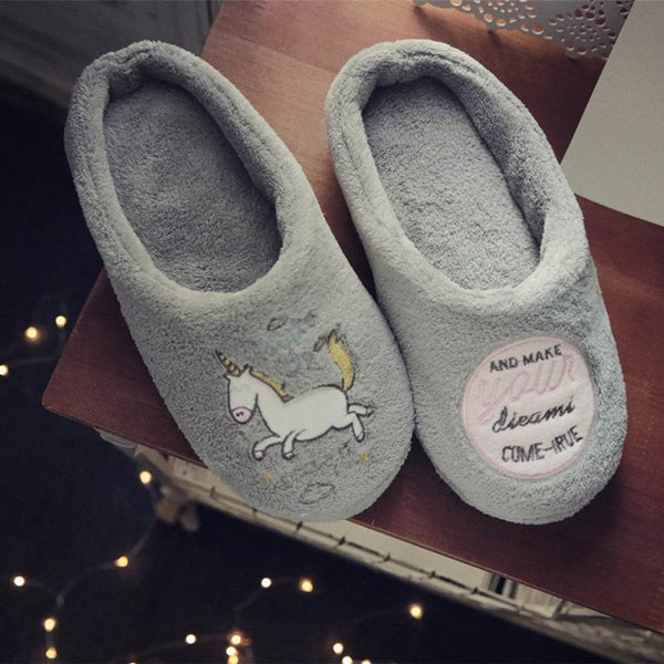 Aeruiy Unicorn Plush Home Indoor Slippers Gray